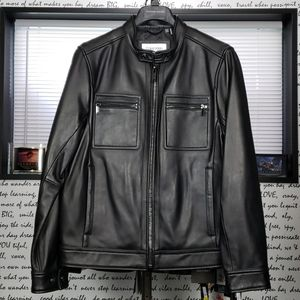 *NEW* CK Men's Small Soft Black Leather Jacket